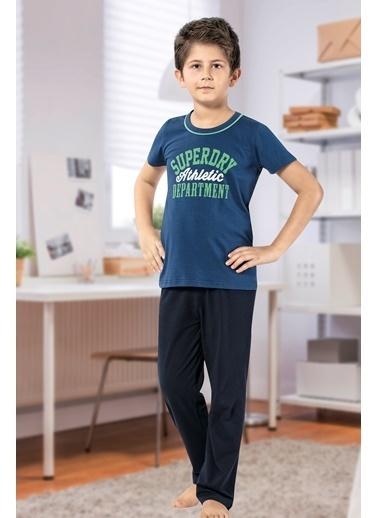 Siyah İnci Pijama Takım Mavi